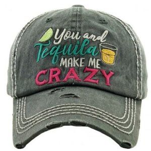 You & Tequila Make Me Crazy Black Distressed Hat